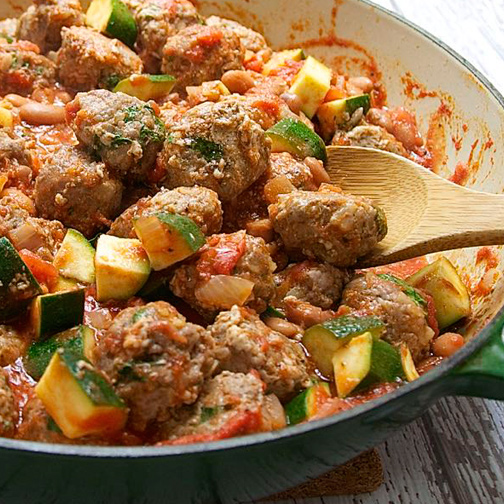 Spanish-Meatballs-Albondigas-with-Pintos-Zucchini-and-Tomato